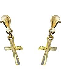 9ct oro amarillo pendientes del perno prisionero de cruz con un diamante de - Reloj joyería