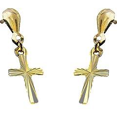 Idea Regalo - In oro giallo 9 kt, con orecchini a lobo a forma di croce con diamante, con gioielli, quindi un proprio significato simbolico