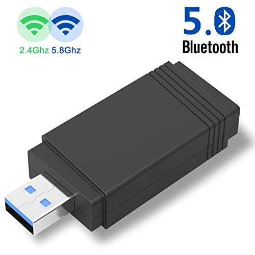 Yehua WLAN Stick, USB WiFi Adapter mit Bluetooth 5.0 AC1300 Dual-Band WLAN Adapter (433 Mbit/s 2,4 GHz, 867 Mbit/s 5,8 GHz), MU-MIMO, 5 dBi Antenne WLAN Empfänger für PC Windows 10/8/7 / XP, Mac OS