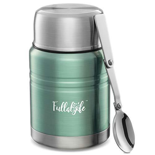 Fullalyfe ® Isolierbehälter aus Edelstahl (500 ml) - Food Flask - Praktischer Thermobehälter für Essen - Vacuum Warmhaltebox - Thermobecher für Suppe - Food Thermos - Thermo Lunchbox (Cyangrün)