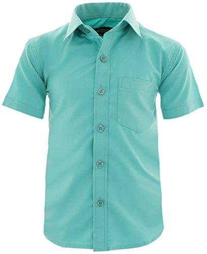 A0vDa Kinder Party Hemd Freizeit Hemd Bügelleicht Kurz Arm mit 9 Farben Gr.86-158 (86/92, Mint)