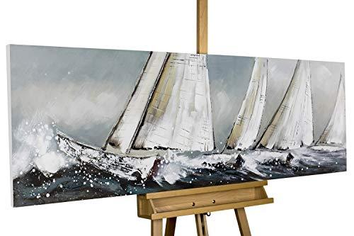 Design & Stil Ab 2000 Wandbild 70x140cm Schiffe Handgemalt Leinwand GERAHMT Acryl Gemälde