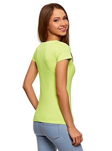 oodji Ultra Donna T-Shirt Basic in Cotone Verde (6700Y)