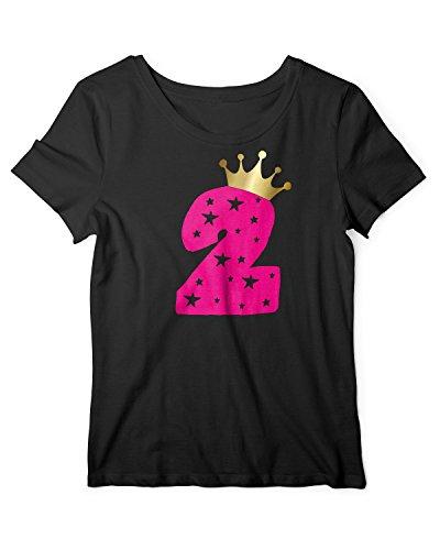 RoughTex Mädchen T-Shirt Geburtstag 2 Jahre | Tshirt mit Aufdruck Zahl und Goldene Krone | Lustige Geschenk-Idee 2. Kinder-Geburtstag Schwarz-Pink 92
