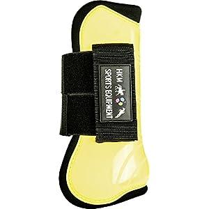 Hkm - Stinchiere e paranocche per cavallo-Confezione da 4 pezzi, Jaune - Yellow - yellow / black