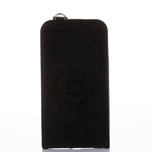Étui en cuir PU pour Motorola Moto G4 Plus,Vertical Pliable Rabat Shell pour Motorola Moto G4,Moto G4 Plus Flip Cover,Ekakashop Etui avec Motif de Bleu Mandala Retro Tendance Style Portable Coque de P Noir