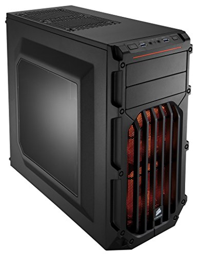 Corsair CC-9011054-WW Case Essential Gaming, Mid Tower Atx Carbide Spec-03, con Finestra e Ventola Frontale a LED, Arancione/Nero