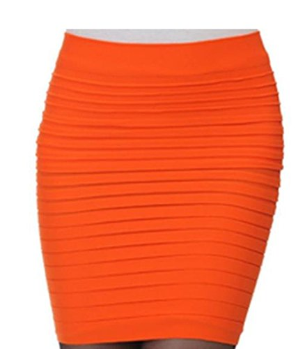 Minetom Damen Hohe taille Kurz Rock Business Pencil Kleid Stretch Bleistiftrock Knielang Mini Skirt Orange