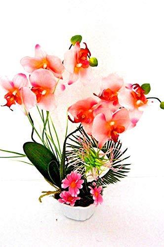 Rosen künstlich im Topf Kunstblumen Kunstpflanze Blume Deko K21 (01)