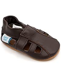 Sandales chaussures de bébé en cuir souple Marron, Dotty Fish garçons