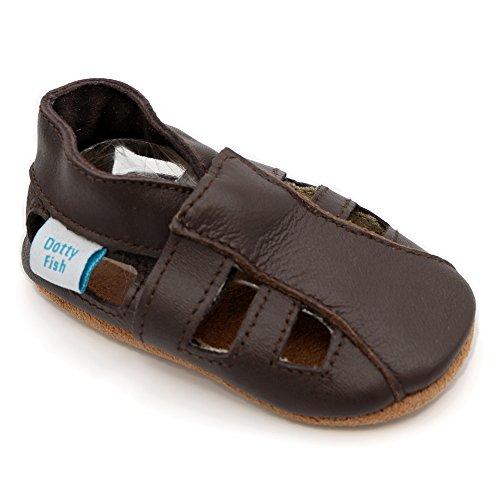 Dotty Fish Weiche Baby und Kleinkind Lederschuhe. Jungen und Mädchen. Braune Sandalen. 6-12 Monate (19 EU) (Leder Hausschuhe Baby)