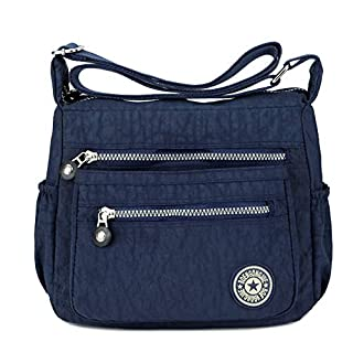 Women's Casual Multi Pocket Nylon Messenger Bags Cross Body Shoulder Bag Travel Purse (Navy)