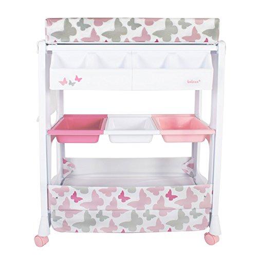 Mi Babiie bebé baño y cambiador, diseño de mariposas, color rosa