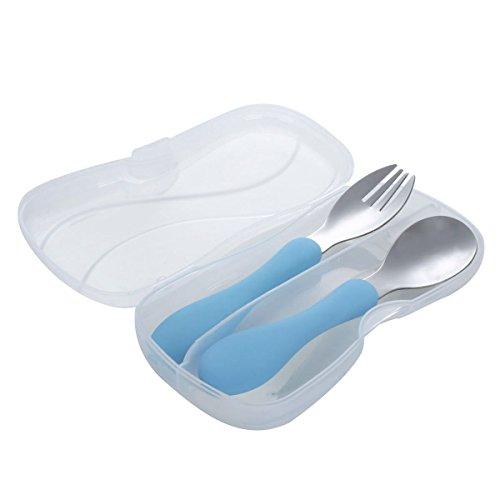 TOOGOO Juego de cuchillos de acero inoxidable para ninos de vida con cuchara tenedor y estuche de viaje (Azul)