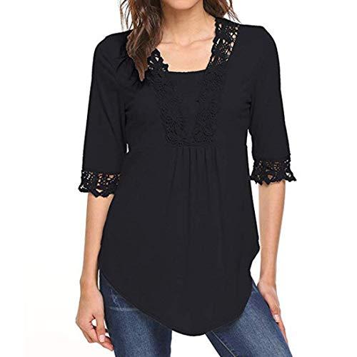ESAILQ Frauen Lässige Halbe Ärmel Tops Tunika Bluse Shirts(XL,Schwarz)