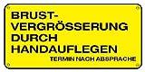 BRUSTVERGRÖSSERUNG DURCH HANDAUFLEGEN Aufkleber Autoaufkleber Sticker Vinylaufkleber Decal