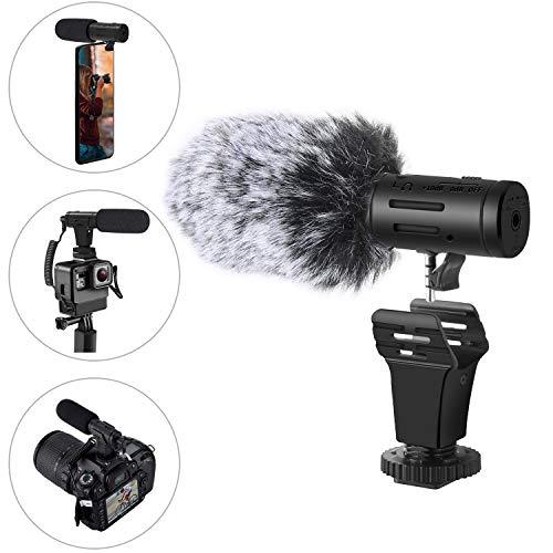 Externes Video Kamera Mikrofon mit Windschutzscheiben Muff für Kamera/SLR/Handy Camcorder/Smartphone/iPhone/Android Lithium Batterie Kondensor Richtmikrofon für YouTube Interview Vlog (07)