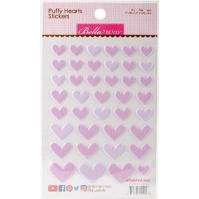 Puffy Heart Stickers -Cotton Candy Mix