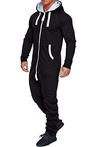 Männer Für Jumpsuit (Amaci&Sons Herren Overall Jumpsuit Jogging Onesie Trainingsanzug Camouflage 3001 Schwarz)