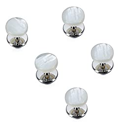 AMITER 5pcs Double-Side Mother of Pearl Tuxedo Studs Set for Men Wedding