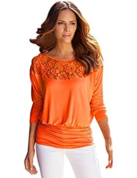FEITONG Las mujeres de manga larga Encaje de la camiseta blusa ocasional Camisa floja t Tops