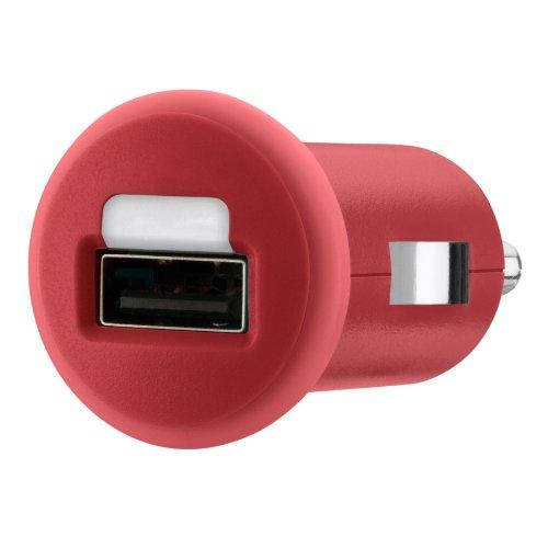 Belkin Micro Car Charger (geeignet für iPod,iPhone 6/6 Plus, Navi\'s, Smartphones und weitere Geräte) rot