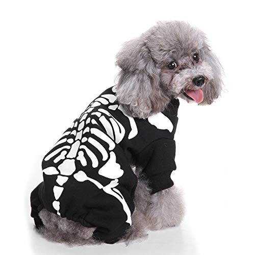 lloween Dog Skeleton Kostüme, Halloween Hund Cosplay Kleidung, Coole Skeleton Dog Kostüme, warme Hundebekleidung (S) ()