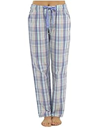 Womens Plaid Check Polycotton Summer Pyjama Trouser Bottoms Lounge Wear Pants