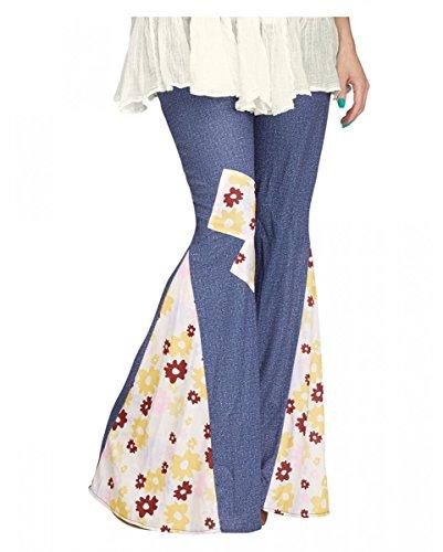 Hippie jeans pantalón con flores S/M