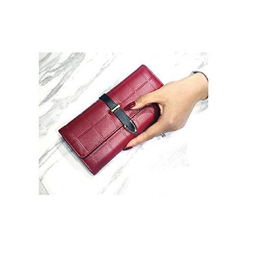 Lange Damen Brieftasche Multi-Card Square Wallet Griff Brieftasche Geldbörse (rot)
