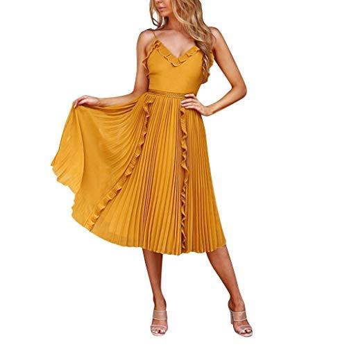 Vestidos Mujer Casual,Mujeres Vacaciones Rayas Damas Verano Playa Botones Vestido de Fiesta LMMVP (S, Amarillo)