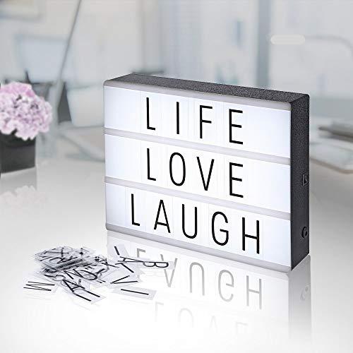 Agm lampada led light box lavagna a 3 righe decorazioni casa con lettere luminose e luce fredda