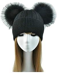 Cappello Cashmere Doppio PON PON Pelliccia Cappellino Cuffia Donna Uomo Bambina  Bambino Hat Fur Murmasky Woman 6aaf05999e82