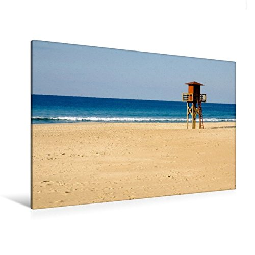 Premium Textil-Leinwand 120 cm x 80 cm quer, Atlantikstrand bei Cadiz | Wandbild, Bild auf Keilrahmen, Fertigbild auf echter Leinwand, Leinwanddruck: Weite Sandstraende am Atlantik (CALVENDO Orte)