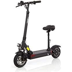Wizzard Elektro City Scooter 2.5 Plus - 500 W Motor - 100 Km Reichweite - 40 Km/h - Alarmanlage (Schwarz mit Sitz)