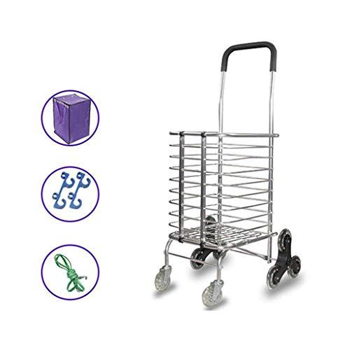 lqgwc Einkaufswagen Lebensmittel kaufen Kleiner Einkaufswagen, Gebäude besteigen Tragbarer Ziehkarren Klappkarren Lever Bar Home Trolley Aluminium 35L (Farbe: 8 Runden)