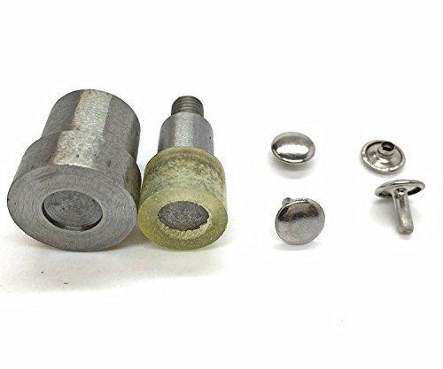 Doppel Kappe Tubular NIET Einstellwerkzeug Stanzen Set für Universal grün Handpresse Maschine Nietmaschine von Trimming Shop - Silbern, 8mm (Handtasche-reparatur-teile)