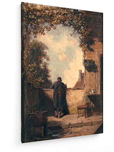 Carl Spitzweg - Alter Herr auf der Terrasse - 20x30 cm - Leinwandbild auf Keilrahmen - Wand-Bild -...