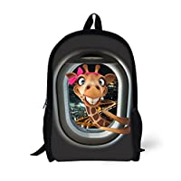 HUGS IDEA Cute 3D Animals School Backpack Black Book Bags