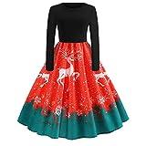 Soupliebe Weihnachtsfrauen Langarm O Hals Druck Vintage Kleid Abend Party Kleid Abendkleider Cocktailkleid Partykleider Blusenkleid