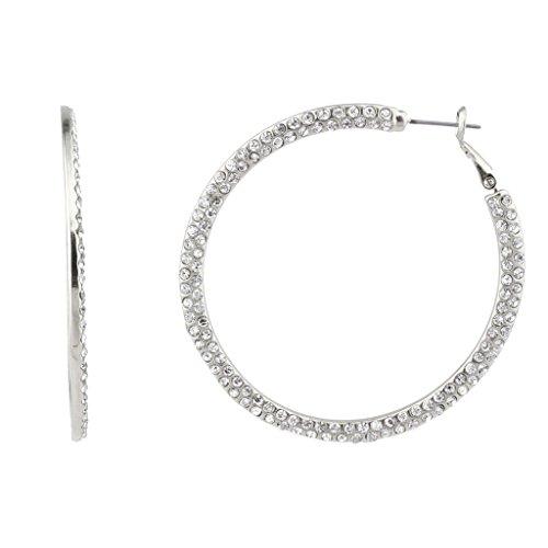 Lux Accessories Schlicht Elegant Glatt Kristall Bügel Ohrringe. (Martini-bügel)