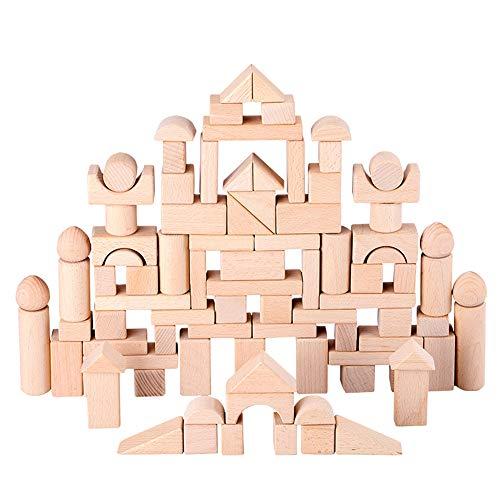 SXPC 100 stücke Kinder Holzbau Block Spielzeug Baby Kreative Holz Stapelblöcke Early Learning Pädagogisches Spielzeug