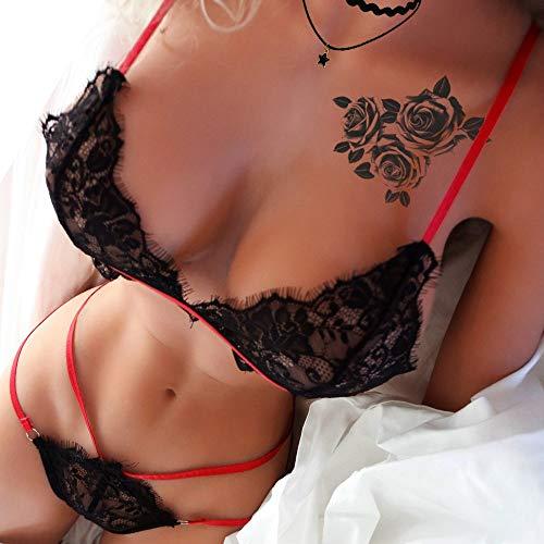 HCFKJ Dessous Damen Sexy Frauen Eyelash Lace Lingerie Set Unterwäsche Thong Underwear G-String Bodysuit Reizwäsche Set Schwarz,M - 6