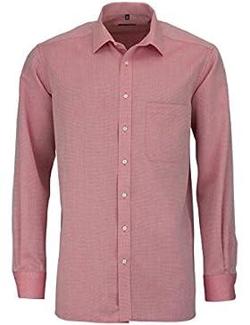 ETERNA Comfort Fit Hemd extra langer Arm Muster rot AL 68