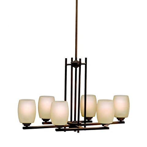 Kichler Lighting 3898OZ Eileen 6-Light Island Fixture, Olde Bronze with Umber-Etched Glass by