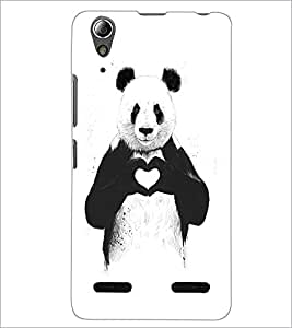PrintDhaba Bear with Heart D-1469 Back Case Cover for LENOVO A6000 (Multi-Coloured)