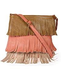 Zapatoz Women's Plain Beige, Brown Leatherite Sling Bag (Sling-02-brown-peach-Beige)