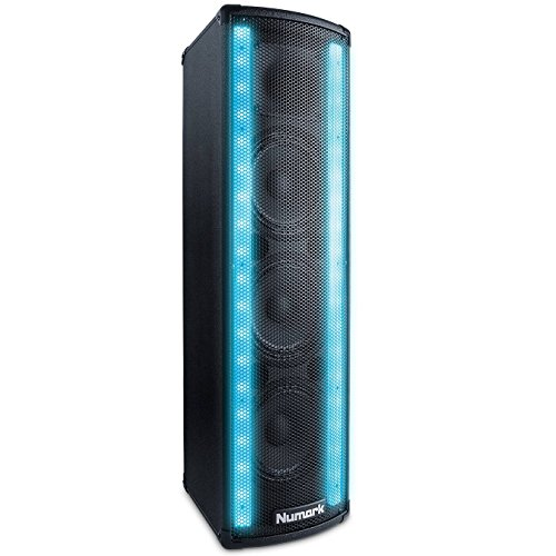 Numark Lightwave Aktiv-Lautsprecher mit LED-Lichtleiste, 200W Peak Dual-woofer-box