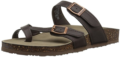 Madden Girl Women's BRYCEEE Flat Sandal, Dark Brown, 7 M US