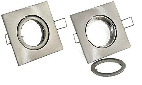12V und 230Volt Einbauleuchte / Spot / Strahler Quajo in edelstahl-gebürstet inkl. Hochvolt GU10 und Niedervolt MR16 Fassung -